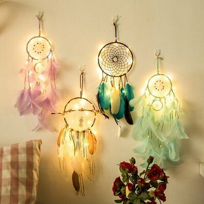 Lovely Indian Style Wind Chimes Dreamcatcher LED String Light With Feather UR