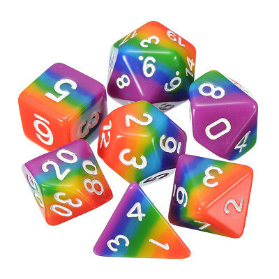 7Pcs/set Resin Rainbow Polyhedral Dice DND RPG MTG Role Playing Game With Bag