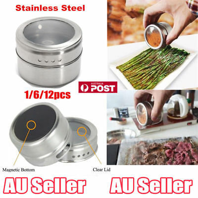 1~12 X Magnetic Spice Tin Stainless Steel Storage Container Jar Clear Lid Set UU