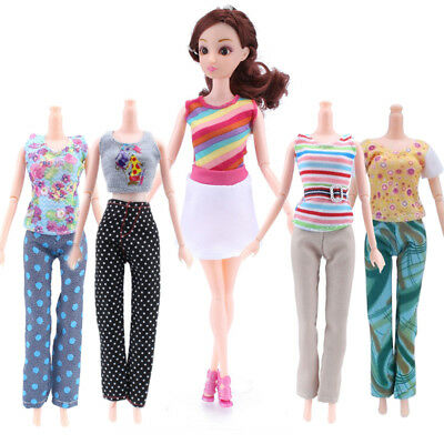 5 Tops +5 Pants Girl Gift Casual Summer Clothes Outfit for Barbie Doll Kids Toys