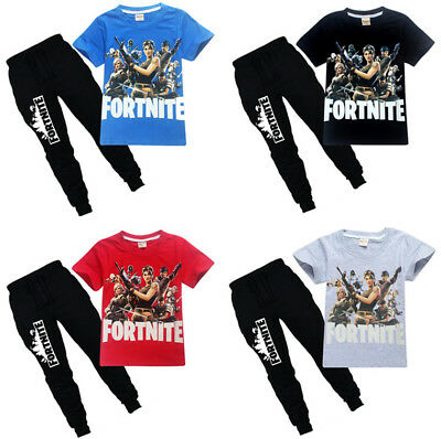 Fashion Kids Boys Fortnite Short Sleeve Shirt Tops+Pants A Suits 6-14 Years #H