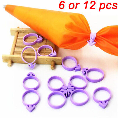 6/12pcs Cake Decorating Icing Bag Sealing Tied Up Fixed Ring Silicone Band