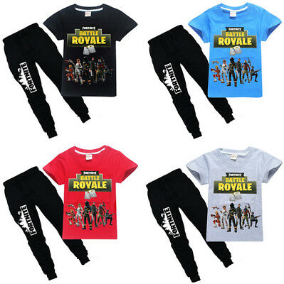 New Kids Boys Fortnite Battle Royale T-Shirts Tops+Pants A Suits 6-14 Years #D