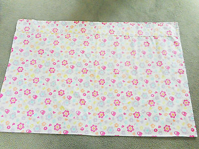 Floral pastel large flat sheet for cots / toddler bed baby girls flowers hearts