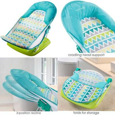 Infant Deluxe Baby Bather Triangle Stripe Tub Bath Shower 3 Position For Comfort