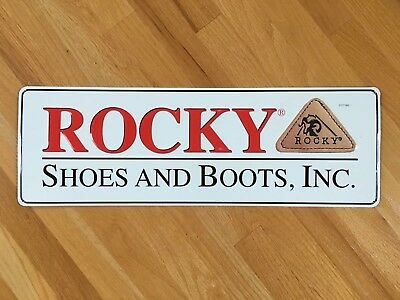 """Vintage 24"""" ROCKY Shoes And Boots Embossed Tin Advertising Sign"""