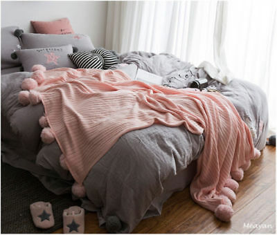 100% Cotton Knitted Throw Crochet Blanket Cotton Knit Bed Sofa Throw Decor Rugs