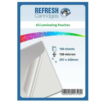 Laminating Pouches A3 150 Micron Pack of 100 Sheets