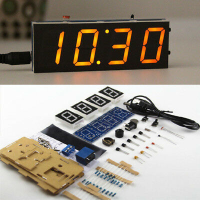 Electronic USB Home Decor LED Display Digital Clock 4-Digit Light DIY Kit
