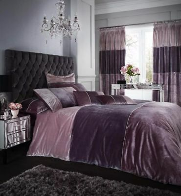 Catherine Lansfield Velvet Bands Heather Duvet Cover Set & Accessories