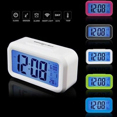 Table Electronic Snooze Alarm Clock Temperature Calendar LED Digital Backlight