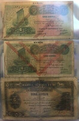 Bank Syria And Lebanon 3 Pieces (1, 1 And 5)