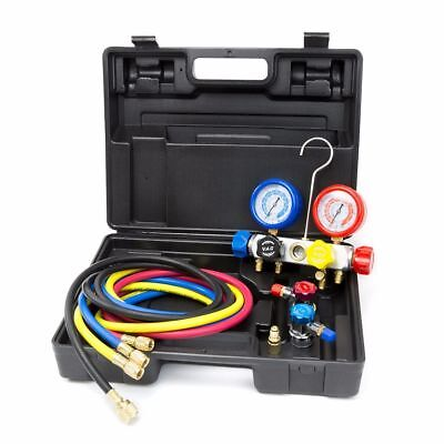 4 Way AC Manifold Gauge Set R134a r134 R410A R404A R22 w/Hoses Coupler Adapters