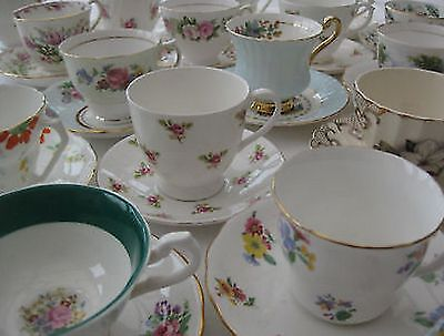 VINTAGE prettiest bone china TEA CUPS ~make your own MIS-MATCHED set!
