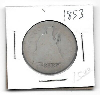 US 1853 Liberty Seated Quarter - Variety 2 - Arrows at Date, Rays - 25 Cents