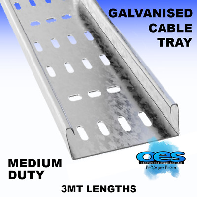 50Mm - 75Mm - 100Mm - 150Mm Medium Duty Cable Tray 3Mt Lengths  Pre-Galvanised