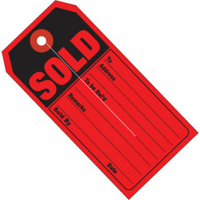 """Box Partners Retail Tags """"SOLD""""  4 3/4"""" x 2 3/8"""" Red/Black 500/Case G26010"""