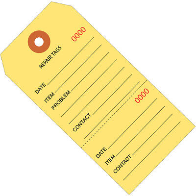 """Box Partners Repair Tags Consecutively Numbered 6 1/4"""" x 3 1/8"""" Yellow 1000/Case"""