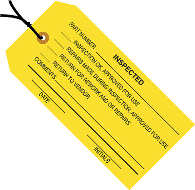 """Box Partners Inspection Tags Pre-Strung """"Inspected"""" 4 3/4"""" x 2 3/8"""" Yellow 1000"""