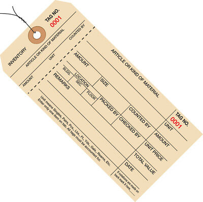 """Box Partners Inventory Tags 1 Part Stub Style #8 Pre-Wired (3000-3999) 6 1/4"""" x"""