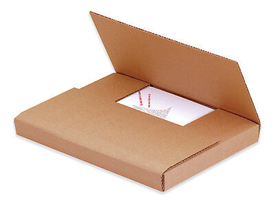"Box Partners Easy-Fold Mailers 9 5/8"" x 6 5/8"" x 1 1/4"" Kraft 50/Bundle M961K"