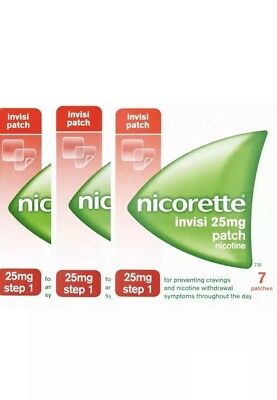 3 x Nicorette Step 1 Invisi 25mg Patch -  21 Patches 3 week kit EXP 2019