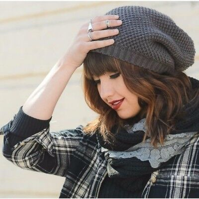 a730d389 Knit Hat Slouchy Beanie Seed Stitch Waffled Oversized Gray Charcoal Knitted  NEW