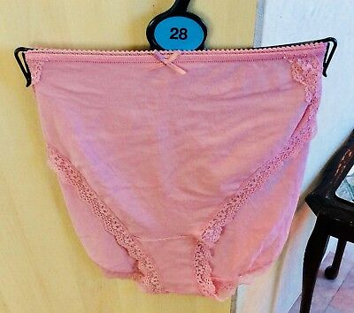 3 Pairs Of Ladies Antique Pink Full Cover Knickers Size 28 From M&S New