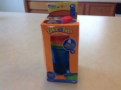 The First Years Take and Toss Spill-Proof Lids Sippy Cups 10-Ounce 4 Count US