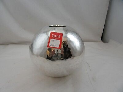 Sterling Silver 925 HAMMERED Modern  Sphere Shape Vase Centerpiece