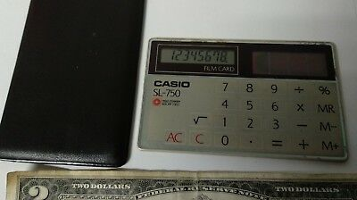 Vintage retro pocket solar calculator CASIO SL-750 film credit card Japan WORKS