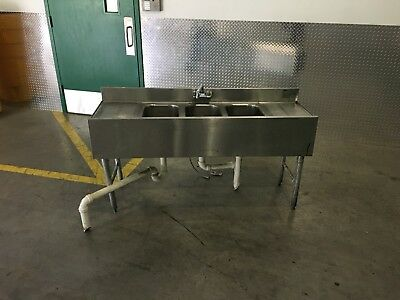(3) Three Compartment Commercial Stainless Steel Sink 60in
