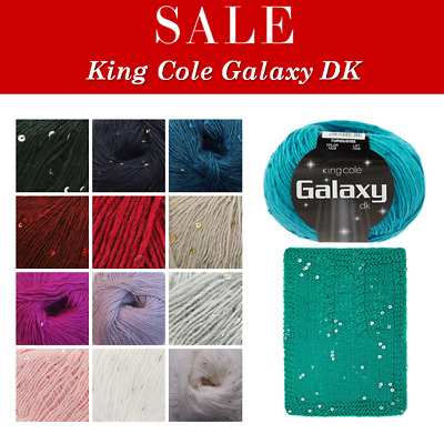 King Cole Galaxy DK Double Knit Yarn Wool With Sequins Knitting Crochet - SALE!