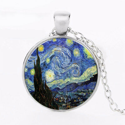 Starry Night Vincent Van Gogh Painting Art Necklace Pendent Jewellery Gift Bag