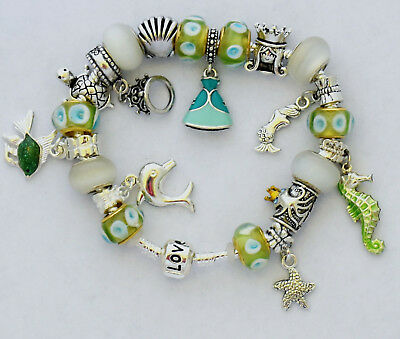 ba028e91b Disney The Little Mermaid Themed European Charm Bracelet w/ Pandora Tissue  Paper