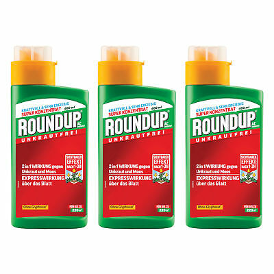 3 x 400 ml Roundup AC Concentrate Weed Free for up to 660 m ² Weed Killer