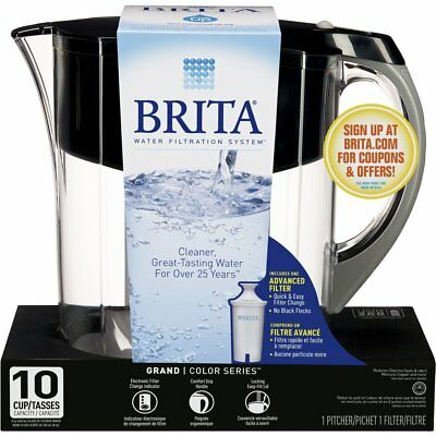 Brita Large 10 Cup Grand Water Pitcher with Filter, BPA Free - Various Colors