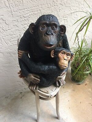 Monkey With Baby,  Life Size Statue, Hand Painted By Artisans, Jungle, Safari