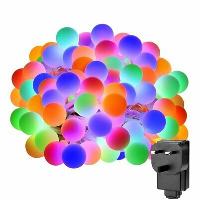 100 LED Coloured Fairy Lights Globe String Lights 10M Indoor/Outdoor Mains Power