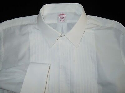 BROOKS BROTHERS White Pleated Tux/Formal Shirt 17 1/2 x 33/34 100% Cotton