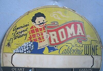 Vintage Round Advertising Sign -- Roma California Wine -