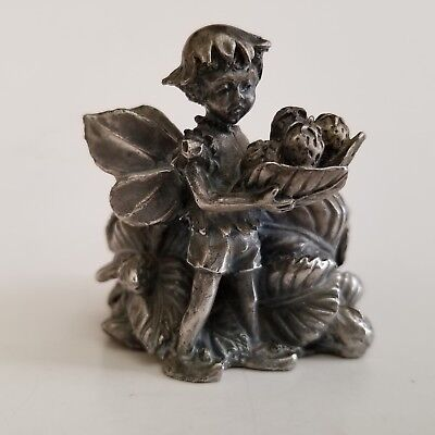 Vintage Miniature Pewter Fairy Candle Holder