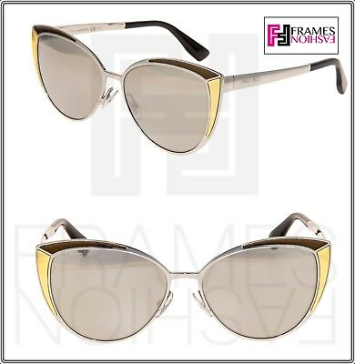 00ab6c78c58 JIMMY CHOO DOMI Palladium Mirrored Bronze Leather Cat Eye Metal Sunglasses