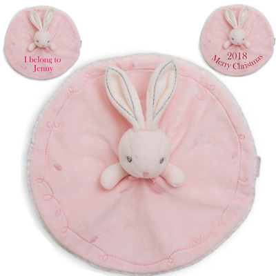 Personalised Baby Girls Soft Blanket Printed Bunny Comfort Plush Toys Gifts