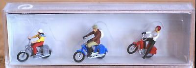Preiser Cyclists Moped Riders Figures H0 scale 1:87, new in box