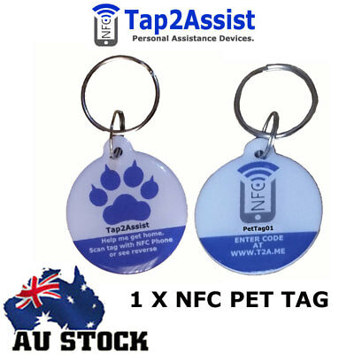 1 x Smart Pet Tag | NFC | Pet ID Tag | Dog Tag | GPS Location - Standard
