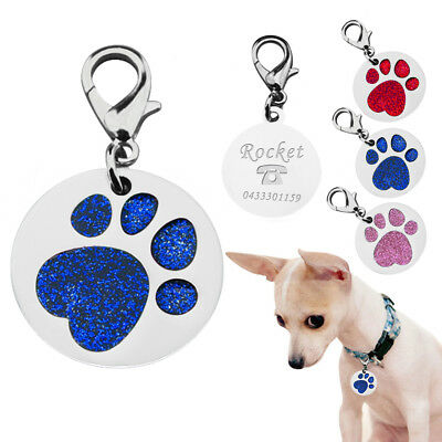 Dog Cat Pet Tag ID Collar Tags Personalised Engraved 28mm Glitte Paw Print