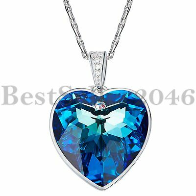 Sterling Silver Ocean Blue Heart Necklace Made With Swarovski Elements Crystals