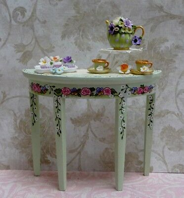 Lovely 1:12 Scale Miniature Floral Side Table