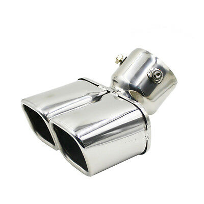 Universal Car Chrome Stainless Steel Rear Dual Exhaust Pipe Tail Tip Muffler